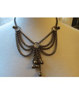 Antique Brass Necklace Chain Bib Dangle Fringe ... - $39.59