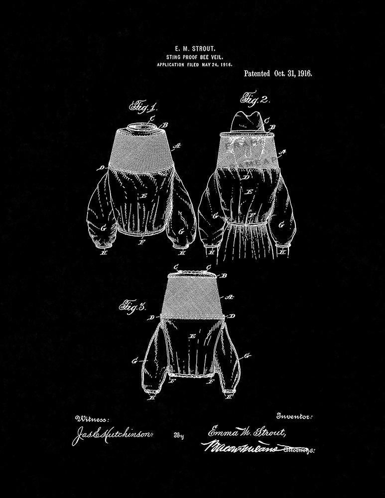 Primary image for Sting-proof Bee-veil Patent Print - Black Matte