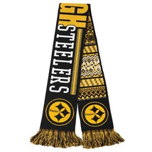 """Nfl 2015 Reversible Ugly Sweater Scarf Pittsburgh Steelers 64"""" Long By 7"""" - $21.99"""