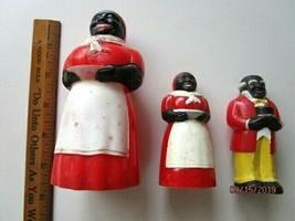 3 - Vintage F&F Mold Die Works Plastic Black Americana Salt & Pepper Sha... - $16.66