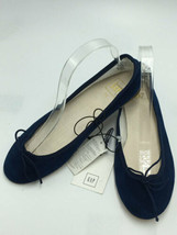NWT The Gap Womens 7.5 Blue Suede Leather Cinch Ballet Flats Shoes - $24.99