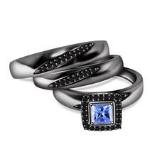 Princess Cut Blue Sapphire Gents Ladies Trio Ring Set Black Gold Over 925 Silver - $165.99