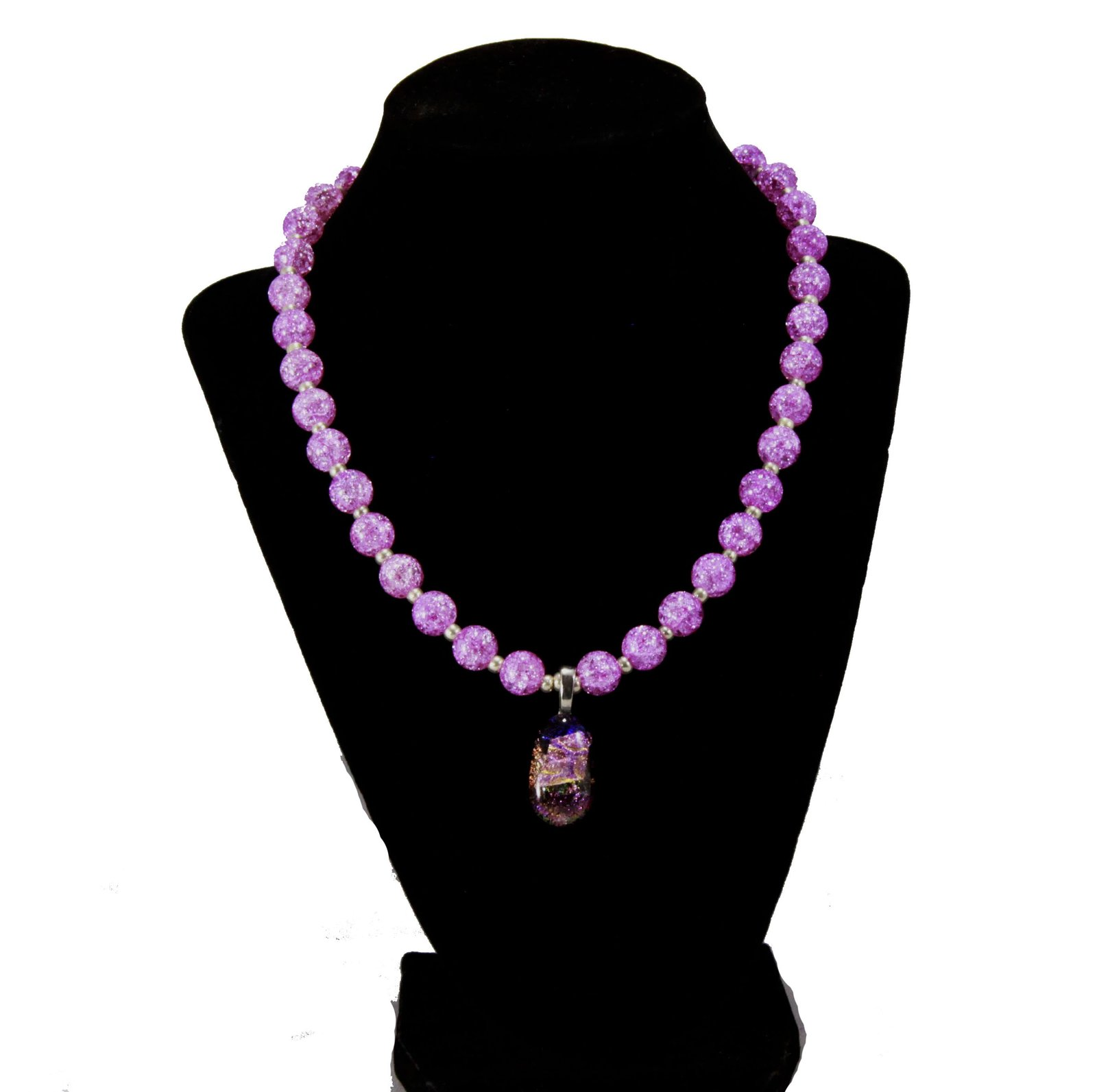 Pink Crackle Glass Necklace with Pendant - $30.00