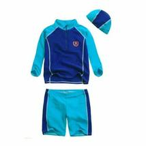 PANDA SUPERSTORE Boys Patchwork Swimwear Two Pieces, Long Sleeve, 10T, 6-7 Years