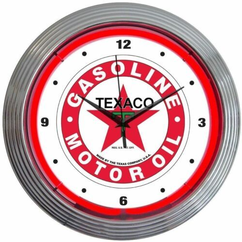 "Primary image for Texaco Gasoline Motor Oil Neon Clock 15""x15"""