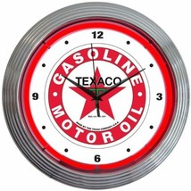 "Texaco Gasoline Motor Oil Neon Clock 15""x15"" - $69.00"