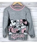 Vtg Mickey & Minnie Mouse Sweater Girls L 14 Gray Metallic Disney Love 8... - $33.99