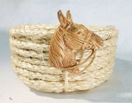 Vintage brass horse head pin brooch ranch western - $18.25