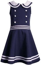 Little Girls 2T-6X Blue White Buttons Stripes Nautical Resort Sailor Dress