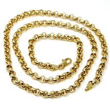 """18K YELLOW GOLD CHAIN 17.70"""" INCHES 45cm, BIG ROUND CIRCLE ROLO THICK 4 MM LINK image 1"""