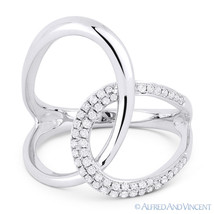 0.25ct Round Cut Diamond Right-Hand Overlap Loop Fashion Ring in 14k Whi... - $609.99