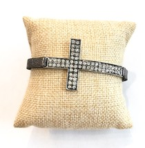 Leather Cross Bracelet, Black Metallic Leather Bracelet, Narrow Leather Bracelet