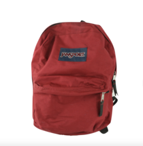 Vintage 90s JanSport Spell Out Box Logo School Backpack Book Bag Nylon Red - $39.55