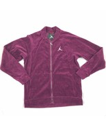 Air Jordan Velour Full Zip Men's Track Jacket Burgundy-Silver AH2357-609 - $75.00