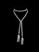 """FABULOUS Vintage Flapper rhinestone necklace - 36"""" Tassel drops - heavy ... - $195.00"""