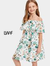 Girls Ruffle Off Shoulder Layered Floral Dress - $45.99