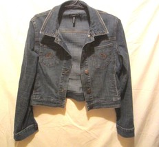 Clash brand denim jacket Juniors Sz XL Short waist Back to school - $10.44