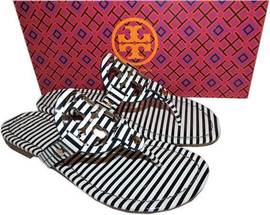 052978e7cf51 Tory Burch Miller Thong Sandal Stripped Patent Leather Flats Flip Flop 7  Slide