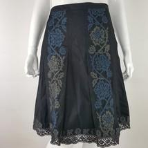 Ann Taylor Loft Sz 0P Pleated Lace Trim A-Line Skirt Black Blue Embroide... - $14.95