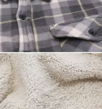 Men's Casual Flannel Button Up Plaid Fleece Warm Sherpa Lined Lightweight Jacket image 11