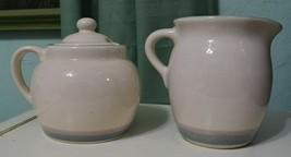Pfaltzgraff AURA PINK Stoneware creamer & sugar bowl Blue Pink Bands cer... - $15.86