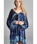 Baby doll multi-color boho block print long plus size tunic/dress 1X, 2X... - $48.00