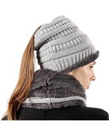 Women Hat Scarf Set Stretch Knit High Ponytail Beanie Tail Winter Outdoo... - $19.22