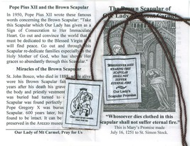 Brown Scapular of Our Lady of Mount Carmel with Pamphlet - 100% WOOL
