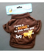 """DOG SHIRT Brown Knit Have a Bone to Pick with You X-Small Tshirt 8"""" NEW - $4.99"""