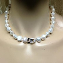 Stunning, Large, 1/2in Real Iridescent White Pearls, 15in Choker-Necklace - $118.70