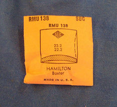 Vintage Hamilton Baxter Plastic Crystal  Wristwatch Part RMS 138 - $10.99