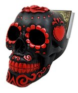 Atlantic Collectibles Day Of The Dead Sugar Skull Business Card Holder F... - $27.22