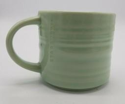 Starbucks 2014 Celadon Green Ribbed Textured Organic Coffee Mug Ceramic Pottery - $24.63