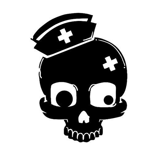 DECAL-STYLE - 12.5x16.7CM Coolest Nurse Skull Fun Car Stickers Motorcycle Reflec