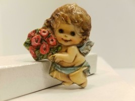 Hallmark PIN Christmas Vintage ANGEL Child W/Flowers Holiday Brooch RARE - $15.79