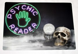 """4 Neon PSYCHIC READER Fortune Ball Skull 13"""" x 18"""" Padded Vinyl Placemats NWT - $23.99"""