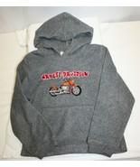 Vintage Harley-Davidson Kid's Hoodie Size 6/7 Gray Sweatshirt Embroidered  - $27.72