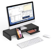 Foldable Monitor Stand Riser, Computer Laptop Riser Shelf with Organizer Drawer, image 1