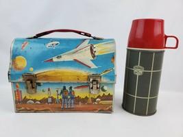Vintage 1960's Dome metal Space Lunchbox UFO Robots Spaceships Random Th... - $65.44