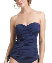 NEW Anne Cole Twist front Ruched Solid Bandeau Tankini Top XS Navy NO S... - $22.76
