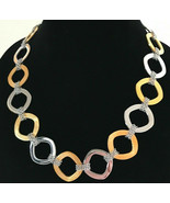 Steel by Design Two-Tone 18K Yellow Gold-Plated Cushion Shape Link Neckl... - $35.77