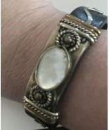 Mother Of pearl & brown Leather  cuff bracelet Bronze Tone K201 - $12.34