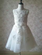 WHITE Lace Tutu High Waist Dress White Knee Length Wedding Flower Girl Dress NWT image 9