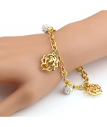 UNITED ELEGANCE Gold Tone Charm Bracelet With Sparkling Swarovski Style ... - $11.99