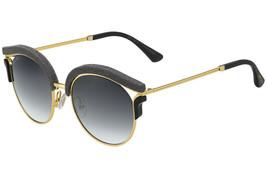 Jimmy Choo Lash Gold Grey Black Snake Leather Glitter Mirror Sunglasses 1R8LN - $270.85