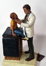 """12"""" 1994 Signed Michael Garman Statue Doctor Checking Young Boy on Table - $189.99"""