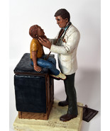 "12"" 1994 Signed Michael Garman Statue Doctor Checking Young Boy on Table - $189.99"