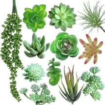 12 PCS Artificial Succulents Plants, Fake Assorted Faux Green - $25.70
