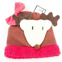 Reindeer Beanie Hat Childrens New Bow Red Brown Knit Winter - $9.76