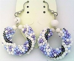 White Howlite Bead Crochet Rope Earrings - $13.37